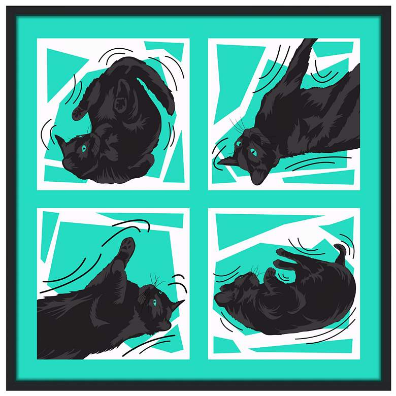 """Kinetic Cat Teal 37"""" Square Black Giclee Wall"""