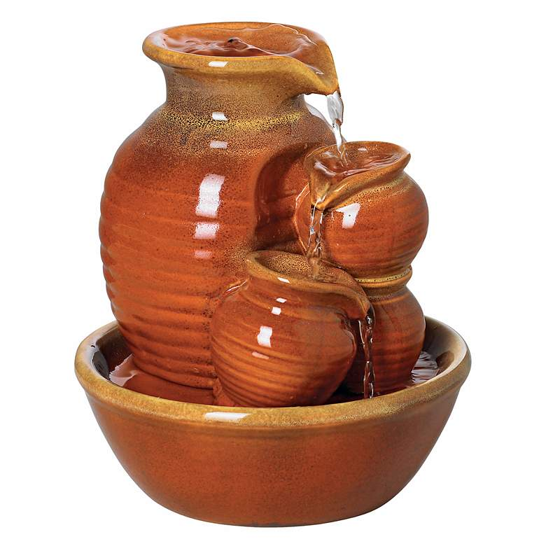 """Country Jar 9"""" High Ceramic Red Table Fountain"""