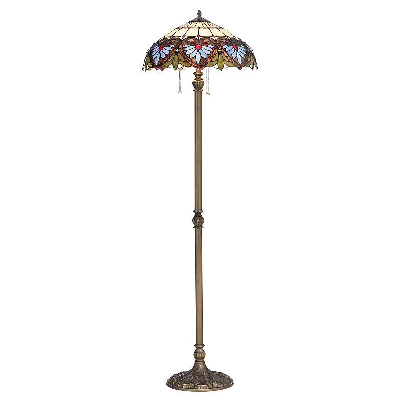 Heart Motif Patina Bronze Tiffany-Style Floor Lamp