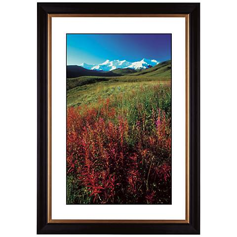 "Snowy Mountain with Wildflowers 41 3/8"" High Giclee Art"