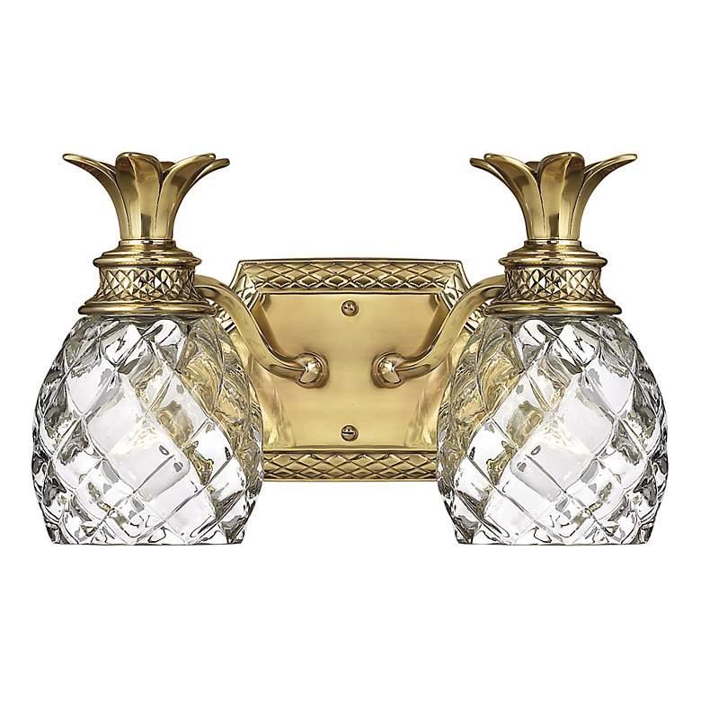 """Anana Plantation 13 1/2""""W Antique Brass 2-Light Bath Light"""