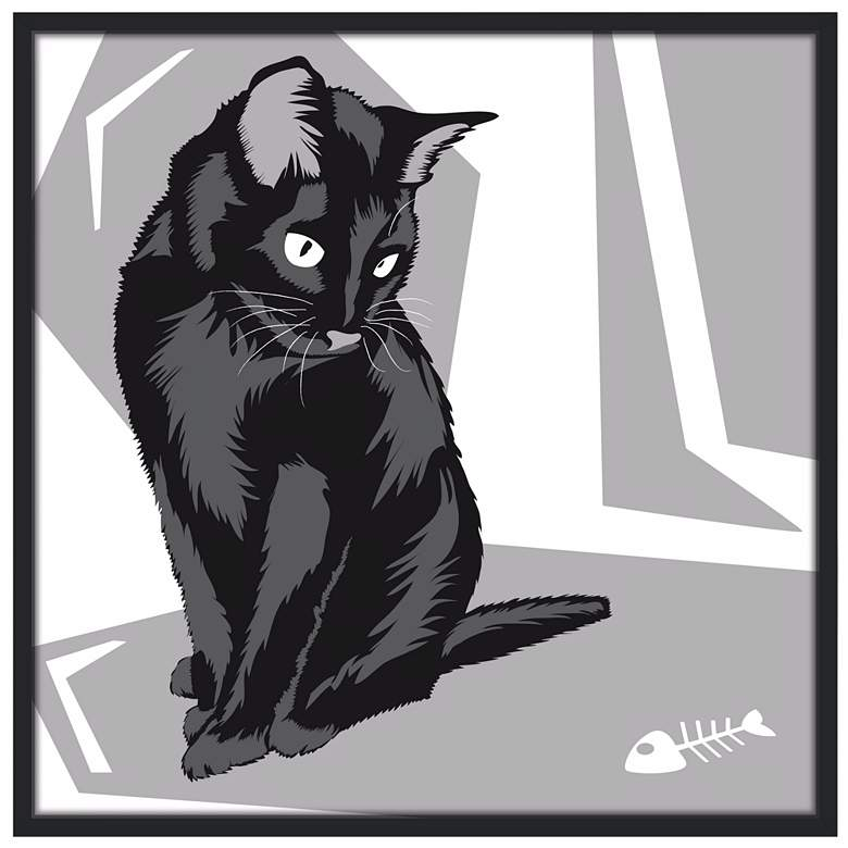 """Curious Cat II 37"""" Black Square Giclee Wall"""