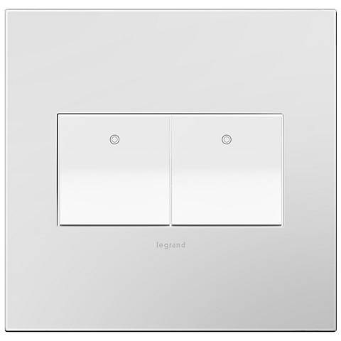 Powder White 2-Gang Wall Plate with 2 x Paddle Switches