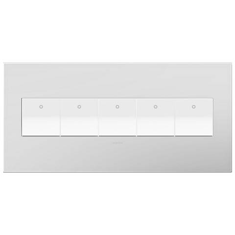 Powder White 5-Gang Wall Plate with 5 x Paddle Switches