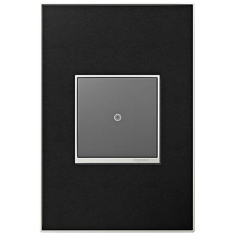 adorne Black Leather 1-Gang Real Metal Wall Plate with Switch