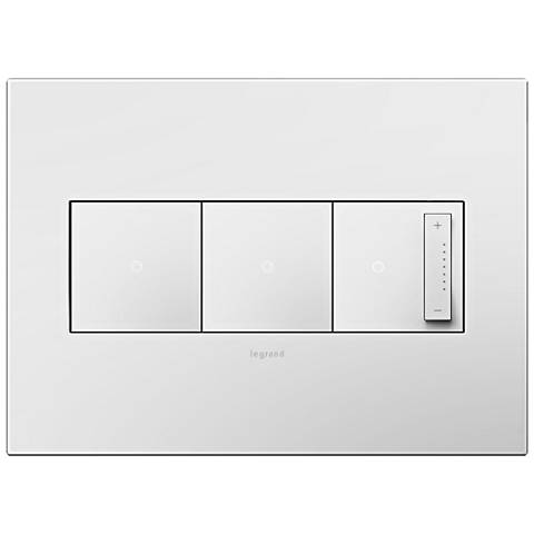 adorne Gloss White 3-Gang Wall Plate with 2 Switches and Dimmer
