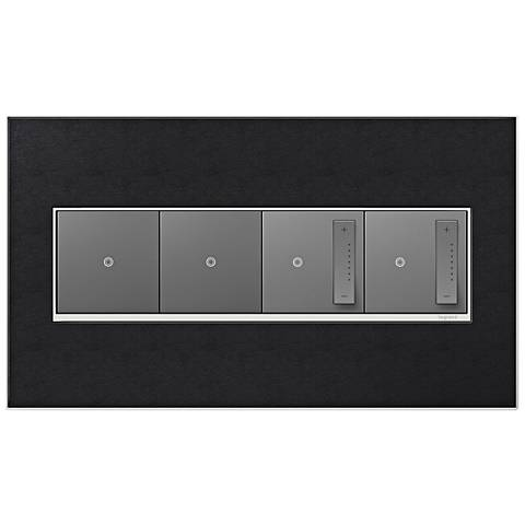 Black Leather 4-Gang Wall Plate with 2 Switches and 2 Dimmers
