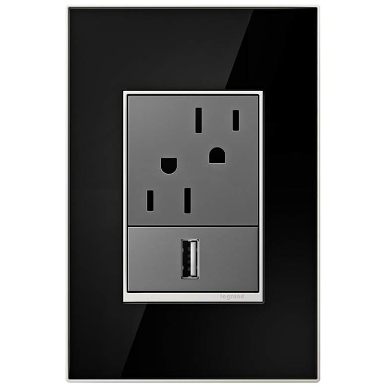 adorne Mirror Black 1-Gang+ Real Metal Wall Plate