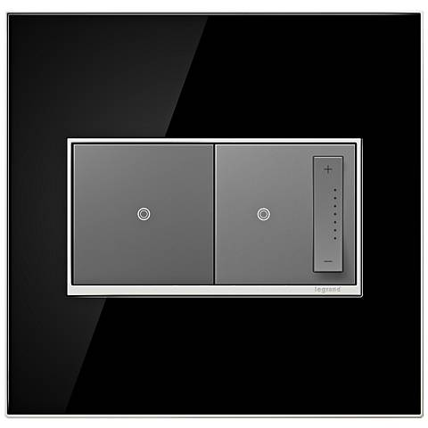 Mirror Black 2-Gang Real Metal Wall Plate with Switch and Dimmer