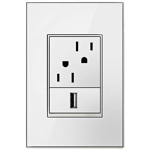 adorne Mirror White 1-Gang+ Real Metal Wall Plate with Outlets
