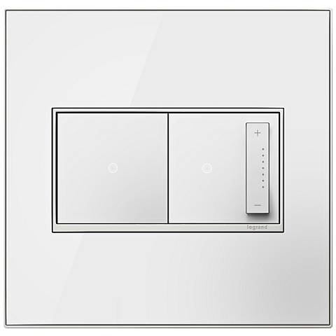 Mirror White 2-Gang Real Metal Wall Plate with Switch and Dimmer