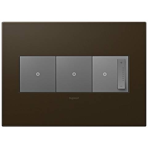 adorne Bronze 3-Gang Wall Plate with 2 Switches and Dimmer
