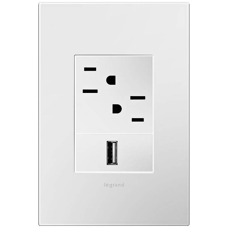 adorne Gloss White-on-White 1-Gang+ Wall Plate w/ Outlets