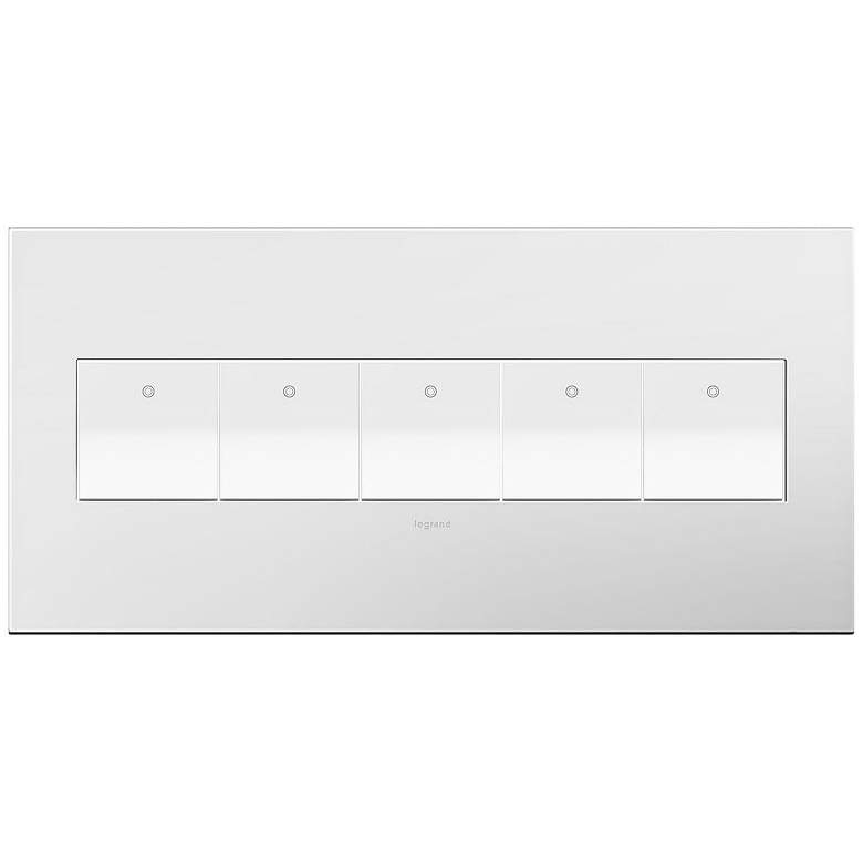 adorne Gloss White-on-White 5-Gang Wall Plate w/ 5