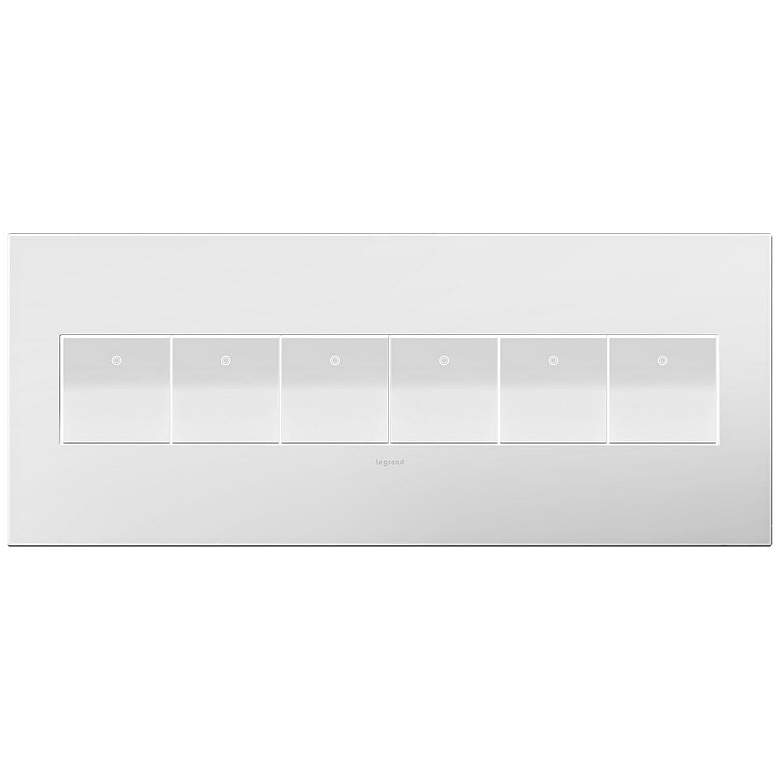 adorne Gloss White-on-White 6-Gang Wall Plate w/ 6
