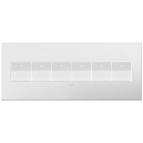 adorne Gloss White-on-White 6-Gang Wall Plate w/ 6 Switches