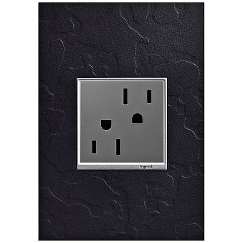 adorne Hubbardton Forge Black 1-Gang Wall Plate w/ Outlet