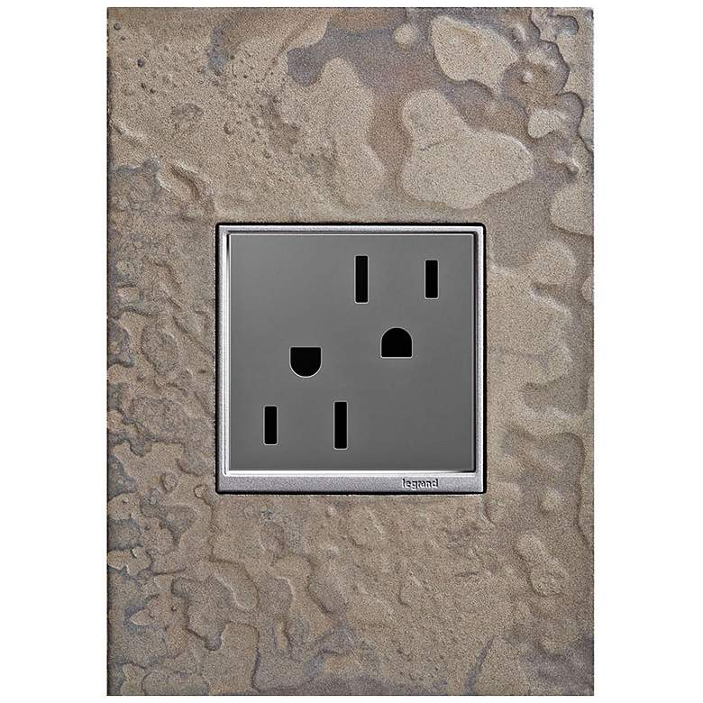 adorne Burnished Steel 1-Gang Wall Plate w/ 15A