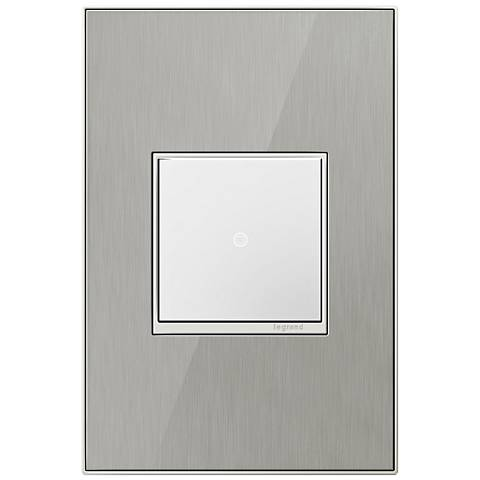 Brushed Stainless Steel 1-Gang Cast Metal Wall Plate w/ Switch