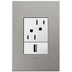 Adorne Brushed Stainless 1 Gang Real Metal Wall Plate W Outlets