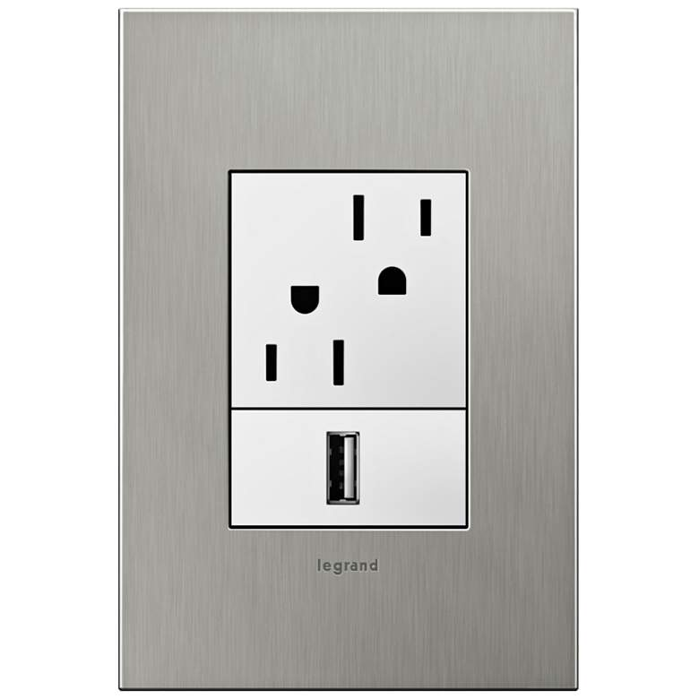 adorne Brushed Stainless 1-Gang+ Real Metal Wall Plate w/ Outlets