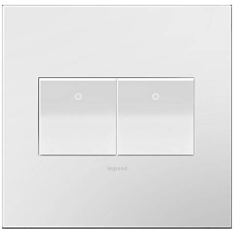 adorne Gloss White-on-White 2-Gang Wall Plate w/ 2 Switches
