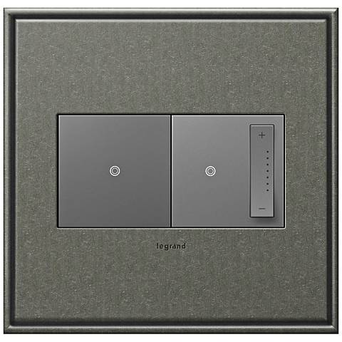 Brushed Pewter 2-Gang Cast Metal Wall Plate w/ Switch and Dimmer