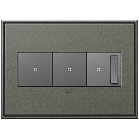 Brushed Pewter 3-Gang Metal Wall Plate w/ 2 Switches and Dimmer