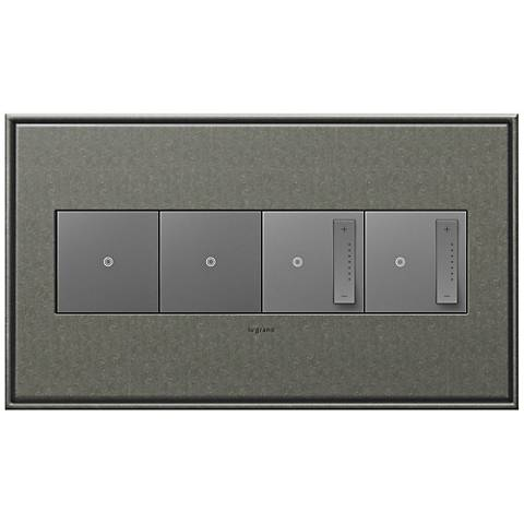 Brushed Pewter 4-Gang Wall Plate w/ 2 Switches and 2 Dimmers