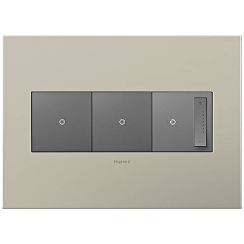 Satin Nickel 3-Gang Metal Wall Plate w/ 2 Switches and Dimmer