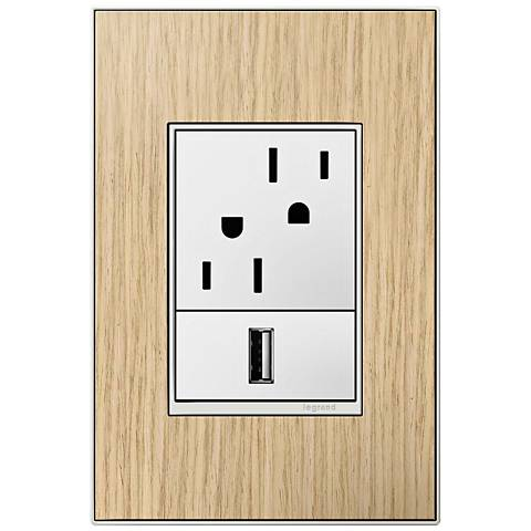 adorne French Oak 1-Gang+ Real Metal Wall Plate w/ Outlets
