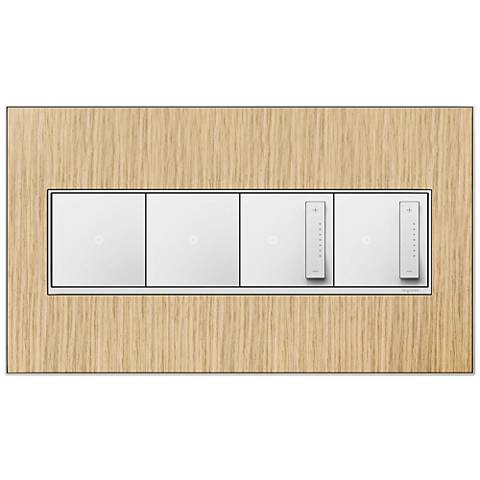 French Oak 4-GangMetal Wall Plate w/ 2 Switches and 2 Dimmers