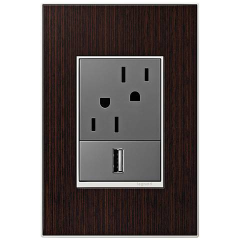 adorne Wenge Wood 1-Gang+ Real Metal Wall Plate w/ Outlets