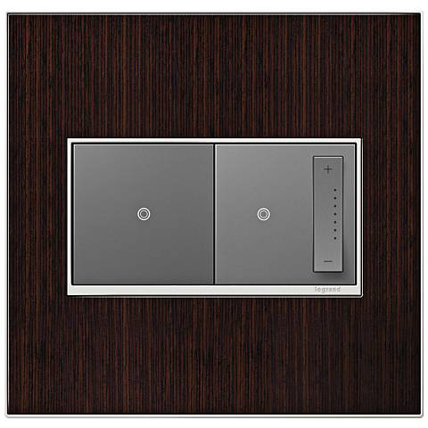 Wenge Wood 2-Gang Real Metal Wall Plate w/ Switch and Dimmer