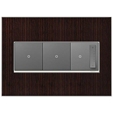 Wenge Wood 3-Gang Real Metal Wall Plate w/ 2 Switches and Dimmer