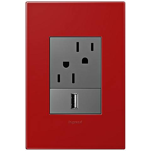 adorne Cherry 1-Gang+ Wall Plate w/ Outlets