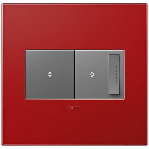 adorne Cherry 2-Gang Wall Plate w/ Switch and Dimmer
