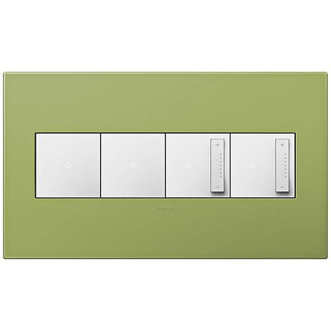 adorne Lichen Green 4-Gang Wall Plate w/ 2 Switches and 2 Dimmers