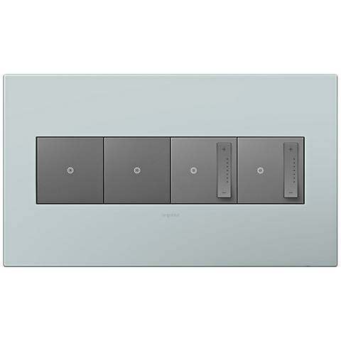 adorne Pale Blue 4-Gang Wall Plate w/ 2 Switches and 2 Dimmers