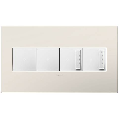 Satin Light Almond 4-Gang Wall Plate w/ 2 Switches and 2 Dimmers