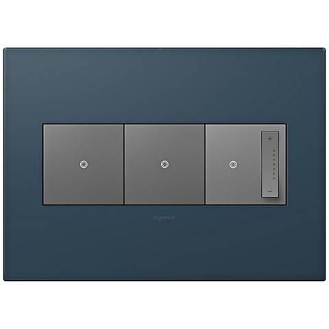 adorne Felt Green 3-Gang Wall Plate w/ 2 Switches and Dimmer