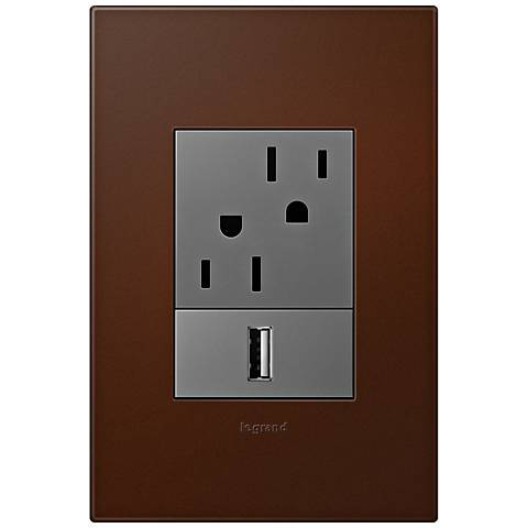 adorne Russet 1-Gang+ Wall Plate w/ Outlets