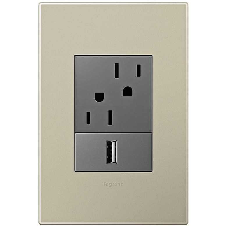 adorne Titanium 1-Gang+ Wall Plate w/ Outlets