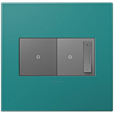 adorne Turquoise Blue 2-Gang Wall Plate w/ Switch and Dimmer