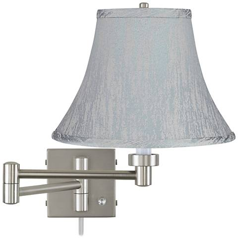 """Brushed Steel 20 1/2"""" Swing Arm Wall Lamp w/ Gray Bell Shade"""