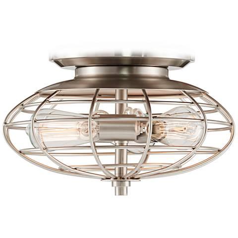 Brushed Nickel Industrial Cage 3-60 Watt Ceiling Fan Light