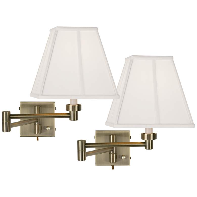 Antique Brass Ivory Shade Swing Arm Wall Lamps Set of 2