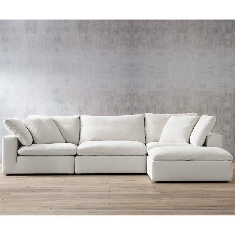 Skye Peyton Pearl 4-Piece Modular Sectional Set with Ottoman