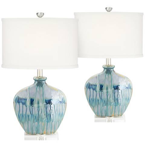 Mia Blue Drip Ceramic Table Lamp Set of 2