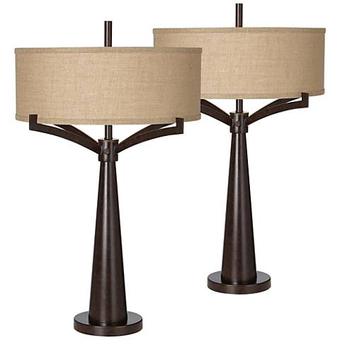 Tremont Bronze Iron Table Lamp Set of 2